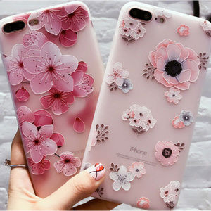 Accessories - Frosted Sakura Flowers iPhone X Phone Case